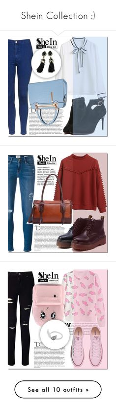 """Shein Collection :)"" by mini-kitty ❤ liked on Polyvore featuring shein, Topshop, Balmain, Relaxfeel, Frame Denim, Miss Selfridge, Converse, Anja, Clarks and 7 For All Mankind"