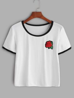 White Contrast Trim Rose Embroidered Patch T-shirt