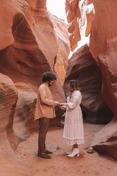 A DESERT ELOPEMENT – Spell Bohemian Wedding Inspiration, Bohemian Wedding Dresses, Bohemian Weddings, Work Travel, He's Beautiful, Fake Flowers, Great Friends, Antelope Canyon, Beautiful Landscapes