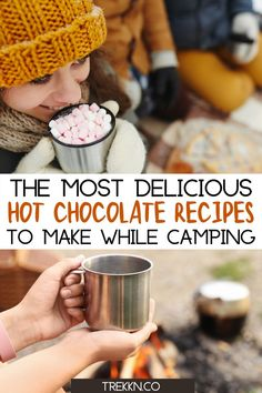 A warm drink and camping go hand in hand, especially when fall hits and the temperatures start to dip. For you chocolate lovers, these easy homemade hot chocolate recipes are perfect for those camping and RV trips. Some of the recipes listed are vegan, some are spiked but all of them whip on in minutes with easy to find ingredients. #hotchocolate #camping #recipe #spiked #vegan #dairyfree #homemade #easy Hot Chocolate Recipe Easy, Spiked Hot Chocolate, Salted Caramel Hot Chocolate, Homemade Hot Chocolate, Chocolate Lovers, Camping Menu, Camping Hacks, Camping Foods, Backpacking Meals