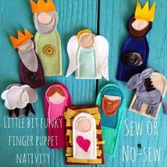 ) Little Bit Funky: twenty minute crafter {finger puppet nativity} (updated!)Little Bit Funky: twenty minute crafter {finger puppet nativity} (updated! Nativity Crafts, Christmas Nativity, Felt Christmas, All Things Christmas, Handmade Christmas, Christmas Holidays, Christmas Ornaments, Celebrating Christmas, Christmas Countdown