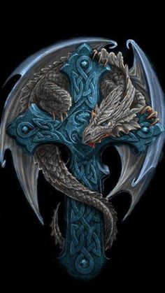 Celtic cross dragon by Anne Stokes . *Instead of cross, the dragon is protecting a little girl (representation of me) tattoo* Anne Stokes, Dragons, Dragon's Lair, Dragon Artwork, Dragon Tattoo Designs, Celtic Dragon Tattoos, Tattoo Celtic, Dragon Pictures, Celtic Art