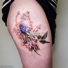 Bird and flower tattoos for women done by tattoo artist Pete Zebley Hummingbird Tattoo Watercolor, Hummingbird Flower Tattoos, Bird And Flower Tattoo, Flower Tattoo Shoulder, Flower Tattoo Designs, Watercolor Tattoos, Two Birds Tattoo, Realistic Flower Tattoo, Flower Tattoo Meanings