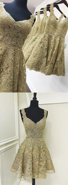 short gold lace homecoming dress, 2017 short homecoming dress party dress dancing dress