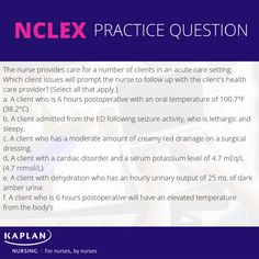 #nclexpractice #freenclexpractice #nclexquestions #futurern #nclexstudyguide Nclex Practice Questions, Nclex Questions, Kaplan Nursing, Nclex Exam, Acute Care, Nursing Tips, Nursing Schools, Test Prep, Professional Development