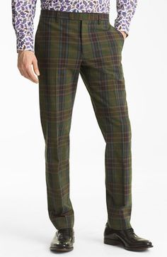 8c0aec18f699b Etro Plaid Flat Front Trousers available at Nordstrom Tartan Plaid