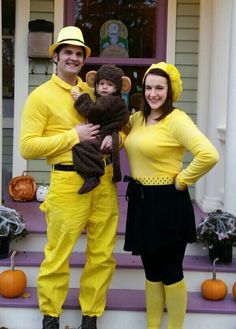 diy curious george and the man with the yellow hat halloween couple costume idea 4