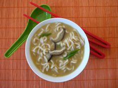 Ramen Noodle Soup  1 32 Oz Box of Chicken Stock  1 Cup Water  2 Tbsp White or Yellow Miso  2 (3-ounce) Packages Ramen Noodles  4  Mushrooms, sliced thin  2 Tbsp Soy Sauce  2 Tbsp Mirin  1/2 Tsp Garlic Powder  1/4 Tsp Onion Powder  1/4 Cup Scallions, green & white, sliced  1. In a large saucepan add the chicken stock, water, miso and bring to a boil.  2. Add the remaining ingredients* and cook for 3 minutes or until the noodles are soft.  3. Add the scallions and serve.