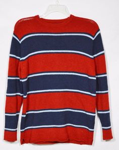 ABERCROMBIE Mens Red/Blue Striped Wool Blend Sweater XL Long Sleeves Unlined #AbercrombieFitch #Crewneck