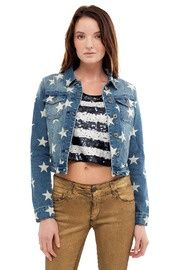 Cropped and starred denim jacket