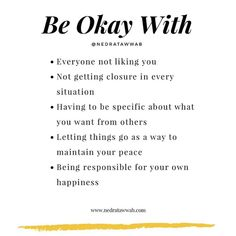 {Peace happens a result of acceptance.}  You can fight against what is or you can respond by accepting what is.  When you accept,… Mental And Emotional Health, Emotional Healing, Note To Self, Self Love, Quotes To Live By, Life Quotes, Peace Quotes, Happiness Quotes, Happy Quotes