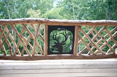 Overlooking the perfect spot in Black Mountain, NC we used custom iron work to help set off this locust railing. Rustic Stairs, Rustic Fence, Front Porch Railings, Deck Railings, Black Mountain, Iron Work, New Homes, Outdoor Structures, Log Cabins