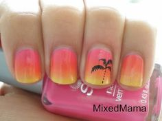 Tropical Sunset Nails how to - Beach Nails French Nails, Cute Nails, Pretty Nails, Hair And Nails, My Nails, Fading Nails, Sunset Nails, Sunset Gradient, Gradient Nails