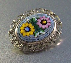 Micro Mosaic Brooch Italy Floral Filigree by LynnHislopJewels