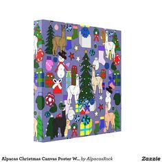 Alpacas Christmas Canvas Poster Wall Art