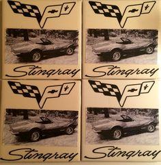 69 Corvette Stingray coasters for Joe (his actual car in picture)