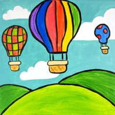 Social Artworking Canvas Designs Scenes from a Balloon Nature Drawing For Kids, Drawing Pictures For Kids, Drawing Lessons For Kids, Easy Drawings For Kids, Painting For Kids, Crayon Drawings, Oil Pastel Drawings, Art Drawings, Drawing Art