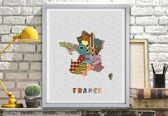 France Map, French Poster Gift Home Decor Wall Art, Travel Map of France, French Art Print, French Art Decor, Paris Gift Art Decor Print AVAILABLE @ $15