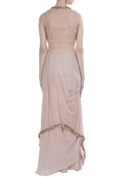 Buy Embroidered blouse with cape & draped skirt by Nitika Kanodia Gupta at Aza Fashions Batik Fashion, Abaya Fashion, Fashion Dresses, Pakistani Outfits, Indian Outfits, Western Outfits, Stylish Work Outfits, Stylish Dresses, Dress Indian Style