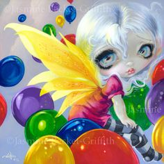 Fairy Balloons birthday party fairy art print by by strangeling, $29.99