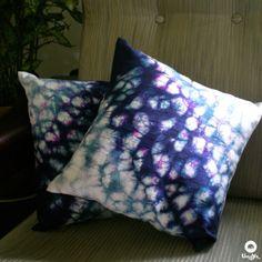"Umoya Shop | Reflections – Silk Shibori Cushion cover (12""/12"") / Rs.400"