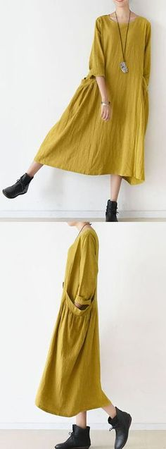 2017 spring fine yellow linen dresses cozy large pockets oversized - New Dress Trendy Dresses, Casual Dresses, Summer Dresses, Boho Outfits, Dress Outfits, Spring Outfits, Casual Outfits, Boho Fashion, Womens Fashion
