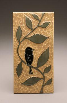 Items similar to Sitting Bird- tile- Ruchika Madan on Etsy Tile Art, Art Prints, Ceramic Art, Linocut, Drawing Illustrations, Hand Carved Stamps, Art, Linocut Art, Bird Art