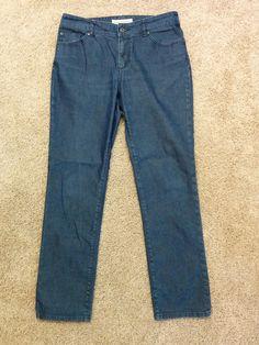 Chico's Premium Denim dark blue straight leg jean pants, Chicos Size 1 Reg #3453 #Chicos #StraightLeg