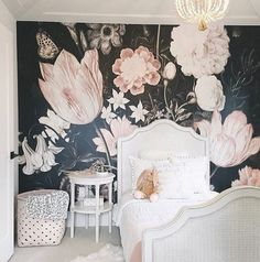 """67 Likes, 1 Comments - Jacinta Oxford (@roxyoxy_creations) on Instagram: """"What lucky little princess gets to sleep here amongst the flowers.. @anewalldecor wallpaper Pic…"""""""
