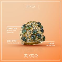 Channel your inner green goddess with this enchanting mix of sapphires and diamonds set in 18kt yellow gold.
