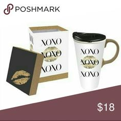 Xoxo travel coffee cup Ceramic coffee mug in gift box blk /gold on white back ground  perfect Vday  gift idea unknown  Other
