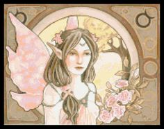 Astrology taurus fairy cross stitch kit or pattern