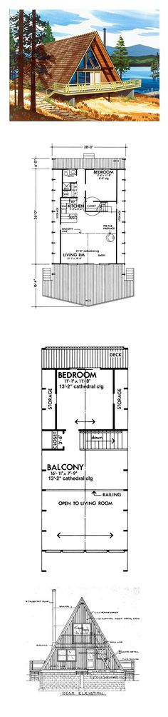 Contemporary Retro House Plan 57544 with 1063 Sq Ft, 2 Beds, 1 Baths A-Frame House Plan 57544 A Frame House Plans, A Frame Cabin, Small House Plans, House Floor Plans, Cabin Homes, Log Homes, Bedroom Frames, Cabin Plans, Cabins In The Woods