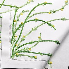 The most graceful flowers you can pick for your table are hand embroidered in Yellow on tall, willowy stems in two shades of Green. Carefree in spirit...