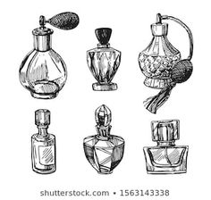 Perfume Bottle Tattoo, Vintage Perfume Bottles, Hatch Art, Black And White Sketches, Black White, Bottle Drawing, Chanel Art, Small Canvas Art, Art Drawings Sketches Simple