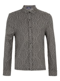 Grey Patterned Jacquard Jersey Shirt - Grey long sleeve patterned jacquard button through jersey shirt. 100% Cotton. Machine washable.