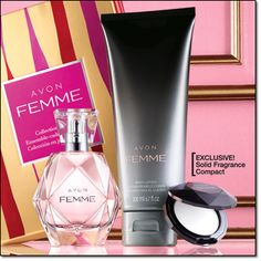 AVON FEMME COLLECTION GIFT SET The essence of glamour captured in an alluring blend of rich jasmine petals, magnolia and amberwoods. Beautifully gift-boxed. • Eau de Parfum Spray 1.7 fl. oz. Price: $30.00 if purchased separately • Body Lotion 6.7 fl. oz. • EXCLUSIVE! SOLID FRAGRANCE COMPACT .065 oz. net wt. 3-PIECE GIFT SET Price: $30.00 a $54.00 value!