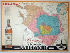 Cognac Leopold Brugerolle by Imp. Max Sidaine 1928 France. This horizontal French poster features a color coded map and a bottle of liquor in the corner. Original Antique Posters.