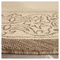 "Antibes Border Rectangle 6'7"" X 9'6"" Outdoor Patio Rug - Natural / Brown - Safavieh, Natural/Brown"