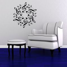 Music - Treble Clef - Eight Note Medallion - Vinyl Wall Art Decal