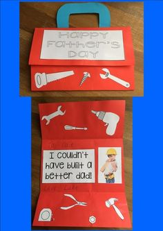 Create a tool box but folding a blank piece of paper and adding a handle… Fathers Day Letters, Fathers Day Crafts, Preschool Gifts, Preschool Projects, Art Projects, Father's Day Celebration, Father's Day Activities, Father's Day Diy, Building For Kids