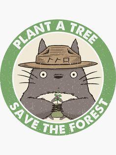 """Save the Forest"" Stickers by LiRoVi Anime Stickers, Cute Stickers, Laptop Stickers, Art Studio Ghibli, Studio Ghibli Quotes, Japon Illustration, Ghibli Movies, My Neighbor Totoro, Hayao Miyazaki"