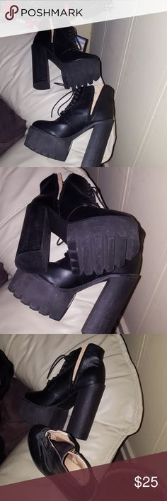 Boots Black chunky heel boots Truffle Shoes Ankle Boots & Booties