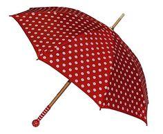2. Wahl - Kinderschirm & Erwachsene / Regenschirm - Ø 90 cm - rot weiße Punkte - Schirm für Kinder Stockschirm mit Griff - gepunktet Punkt - für Mädchen & Jungen - Polka Dots - Kinderregenschirm / Schirmgriff rund