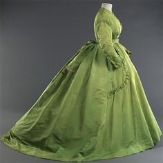 ca. 1867, green wasn't a fashionable color because it was very cheap to make green fabric (just some plants) but when empress Eugénie started wearing green it became very popular, the new green dresses of the empress glows magical (phosphor) in the light of the gas light. (invented in 1863) sorry for my bad english...