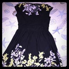 Apt 9 black summer dress with flower print Elegant black summer dress with floral patter on bottom and front and back of dress. Worn a few times still in great condition. Please ask any questions.☺️ Apt. 9 Dresses Maxi