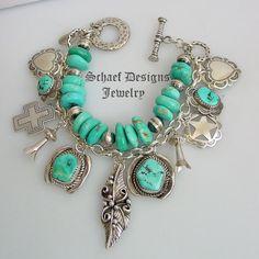 Turquoise Sterling Silver Heart Cross Bench Bead Squash Blossom Charm Bracelet