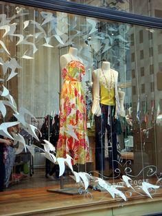 Anthropologie Window Display - fold and cut - Spring Window Display, Store Window Displays, Booth Displays, Retail Displays, Visual Display, Display Design, Display Ideas, Anthropologie Display, Bird Store