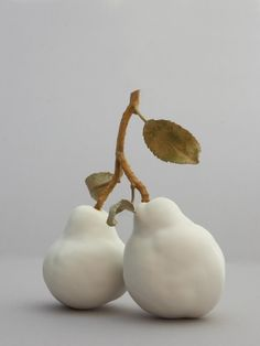 Matt White Glazed Pears - Double Metal Twig & Two Leaves | Product Range | Penkridge Ceramics