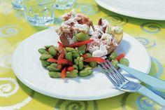 Gepofte aardappel met makreel